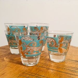 Mid Century Double Shot Glasses Set Blue Gold